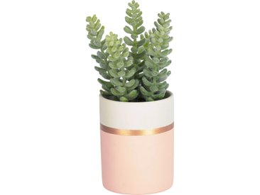 Kave Home - Plante artificielle Sedum lucidum en pot en céramique rose