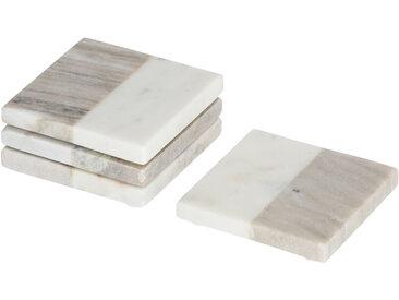 Kave Home - Lot Danelle de 4 dessous de verre en marbre gris et blanc
