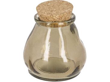 Kave Home - Bocal Rohan marron petit format en verre 100% recyclé