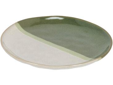 Kave Home - Assiette à dessert Naara blanc et vert