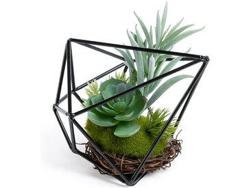 Kave Home - Mélange de Suculenta artificielles dans un cadre en métal