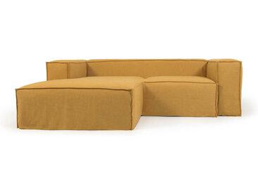 Kave Home - Canapé déhoussable Blok 2 places avec méridienne gauche en lin moutarde 240 cm