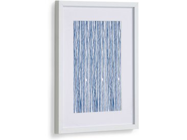 Kave Home - Tableau Kuma rayures bleu 30 x 40 cm