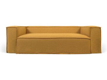 Kave Home - Canapé déhoussable Blok 3 places en lin moutarde 240 cm