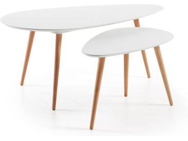 Kave Home - Set ovale Kirb de 2 tables d'appoint blanc