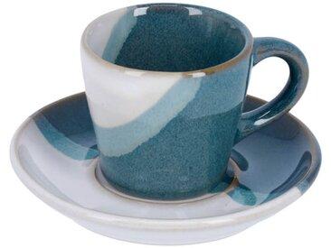 Kave Home - Tasse de café Nelba avec sous-tasse blanche et verte