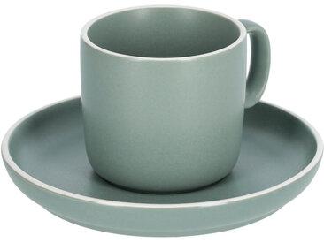 Kave Home - Tasse à café avec soucoupe Shun en porcelaine verte