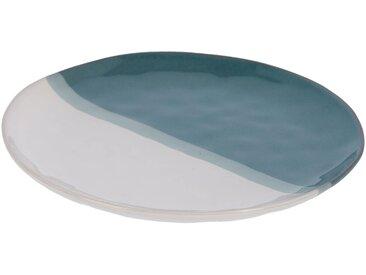 Kave Home - Assiette plate Nelba blanc et bleu