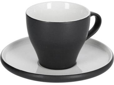 Kave Home - Tasse à café avec soucoupe Sadashi en porcelaine noir et blanc