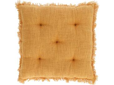 Kave Home - Coussin de chaise Brunela 100% coton moutarde 45 x 45 cm