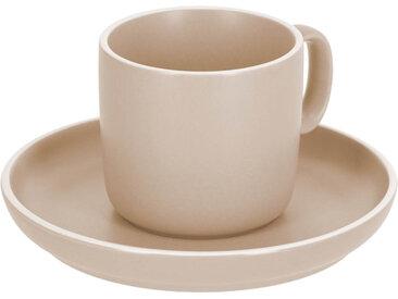 Kave Home - Tasse à café avec soucoupe Shun en porcelaine beige