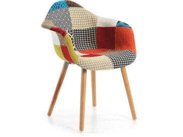 Kave Home - Chaise Kevya patchwork multicolore
