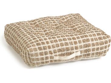 Kave Home - Coussin de sol et palette Adelma en jute et coton blanc et naturel 63 x 63 cm