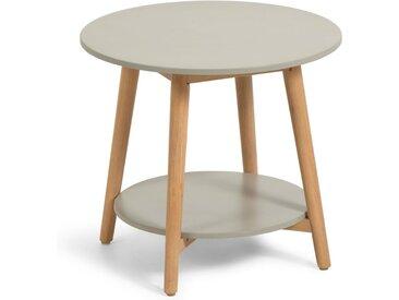 Kave Home - Table d'appoint ronde Nina en polyciment et bois massif d'eucalyptus de Ø 50 cm FSC 100%