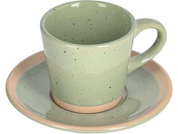 Kave Home - Tasse à café avec soucoupe Tilia en céramique vert clair