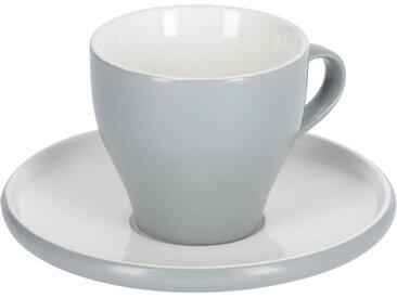 Kave Home - Tasse à café avec soucoupe Sadashi en porcelaine blanc et gris