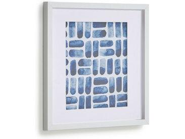Kave Home - Tableau Kuma rectangles bleu 40 x 40 cm