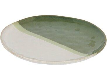 Kave Home - Assiette plate Naara blanc et vert