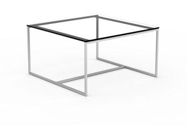 Table basse en verre fumé transparent, design industriel, bout de canapé raffiné - 81 x 46 x 81 cm, personnalisable