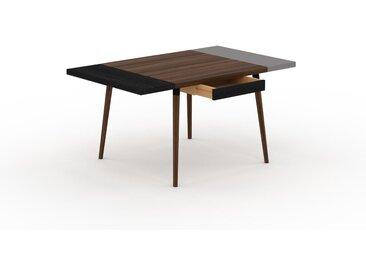 Bureau scandinave - Noyer, design moderne, table de travail nordique, avec pieds inclinés et épurés - 150 x 75 x 90 cm, modulable