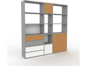 Système d'étagère - Gris, design, rangements, avec porte Chêne et tiroir Blanc - 190 x 195 x 35 cm