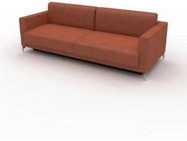 Canapé en cuir - Cognac Cuir Végan, lounge, esprit club ou cosy avec toucher chaleureux, 224x 75 x 98 cm, modulable