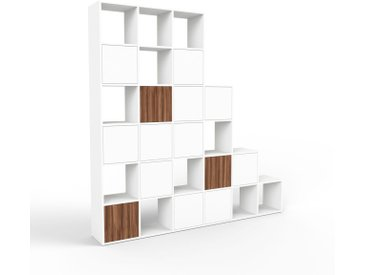 Système d'étagère - blanc, modulable, rangements, avec porte blanc - 233 x 233 x 35 cm