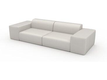 Canapé en cuir - Blanc Cuir Pigmenté, lounge, esprit club ou cosy avec toucher chaleureux - 294 x 72 x 107 cm, modulable