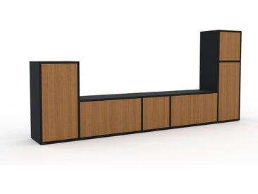 Meuble TV - Chêne, moderne, meuble hifi et multimedia, élégant, avec porte Chêne - 267 x 118 x 35 cm, configurable