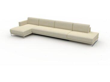 Canapé convertible - Blanc crème, design épuré, canapé lit confortable, confortable avec coffre de rangement - 412 x 75 x 162 cm, modulable