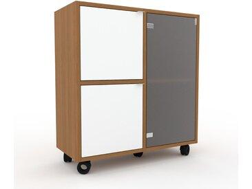 Caisson à roulette - Verre clair dépoli, pièce modulable, rangement mobile, avec porte Blanc - 79 x 87 x 35 cm