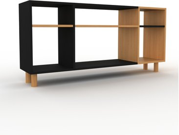 Bibliothèque - Noir, design, étagère pour livres, sophistiquée, ouverte et fonctionelle - 154 x 72 x 35 cm, personnalisable