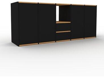 Meuble TV - Noir, design, meuble hifi, multimedia, avec porte Noir et tiroir Noir - 195 x 80 x 47 cm
