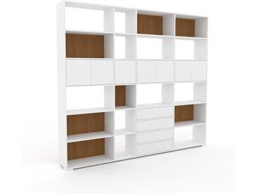 Système d'étagère - Blanc, design, rangements, avec porte Blanc et tiroir Blanc - 265 x 235 x 35 cm