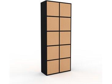 Meuble de rangements - Noir, moderne, pour documents, avec porte Hêtre - 79 x 195 x 35 cm, personnalisable