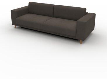 Canapé convertible Velours - Taupe Gris, design épuré, canapé lit confortable, confortable avec coffre de rangement - 248 x 75 x 98 cm, modulable