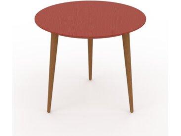 Table basse - Rouge, ronde, design scandinave, petite table pour salon élégante - 50 x 44 x 50 cm, personnalisable