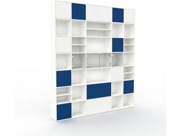 Vitrine - Blanc, design, pour documents, avec porte Bleu nuit et tiroir Bleu nuit - 231 x 272 x 35 cm