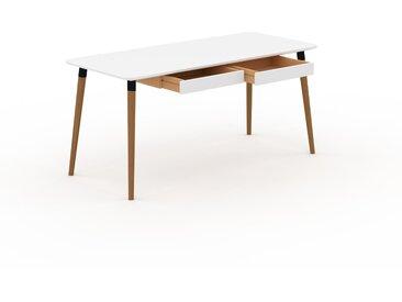 Bureau scandinave - Blanc, design moderne, table de travail nordique, avec pieds inclinés et épurés - 160 x 75 x 70 cm, modulable