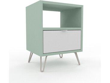 Table de chevet - Blanc, contemporaine, table de nuit, avec tiroir Blanc - 41 x 53 x 35 cm, modulable