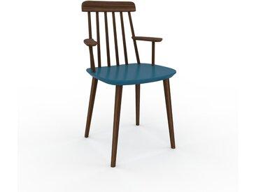 Chaise en bois bleu de 43 x 82 x 53 cm au design unique, configurable