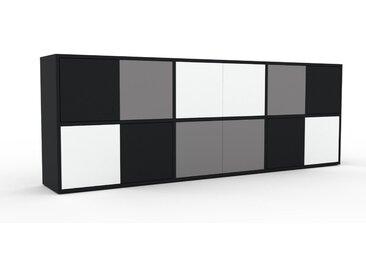 Enfilade - Noir, modèle de caractère, buffet, avec porte Blanc - 226 x 80 x 35 cm, modulable