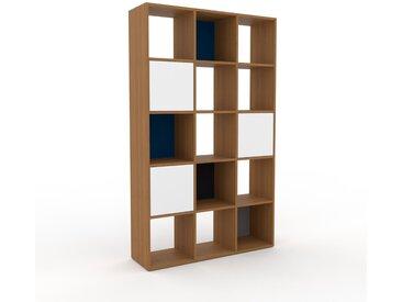 Bibliothèque - Chêne, pièce de caractère, rangements raffiné, avec porte Blanc - 118 x 195 x 35 cm, configurable