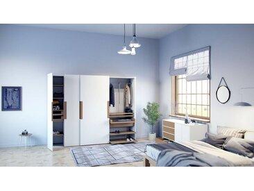 Dressing - Blanc, design, armoire penderie pour chambre ou entrée, haut de gamme, avec portes coulissantes - 214 x 233 x 65 cm, modulable