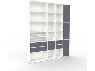 Bibliothèque - Blanc, design contemporain, avec porte Anthracite et tiroir Anthracite - 193 x 234 x 35 cm