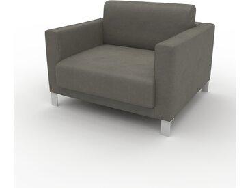Canapé en cuir - Gris gravier Cuir Végan, lounge, esprit club ou cosy avec toucher chaleureux, 104x 75 x 98 cm, modulable