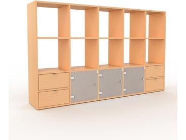 Placard - Hêtre, moderne, rangements, avec porte Verre clair dépoli et tiroir Hêtre - 195 x 118 x 35 cm