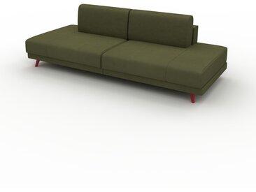 Canapé en cuir - Vert olive Cuir Nubuck, lounge, esprit club ou cosy avec toucher chaleureux, 240x 75 x 98 cm, modulable