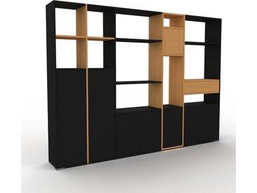 Système d'étagère - Noir, design, rangements, avec porte Noir et tiroir Chêne - 267 x 196 x 35 cm