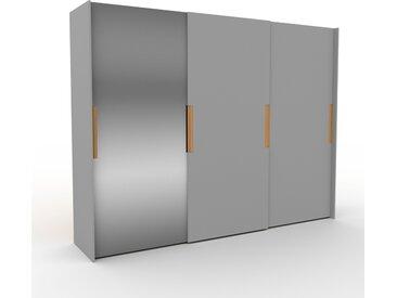 Dressing - Miroir/Gris, design, armoire penderie pour chambre ou entrée, haut de gamme, avec portes coulissantes - 304 x 233 x 65 cm, modulable